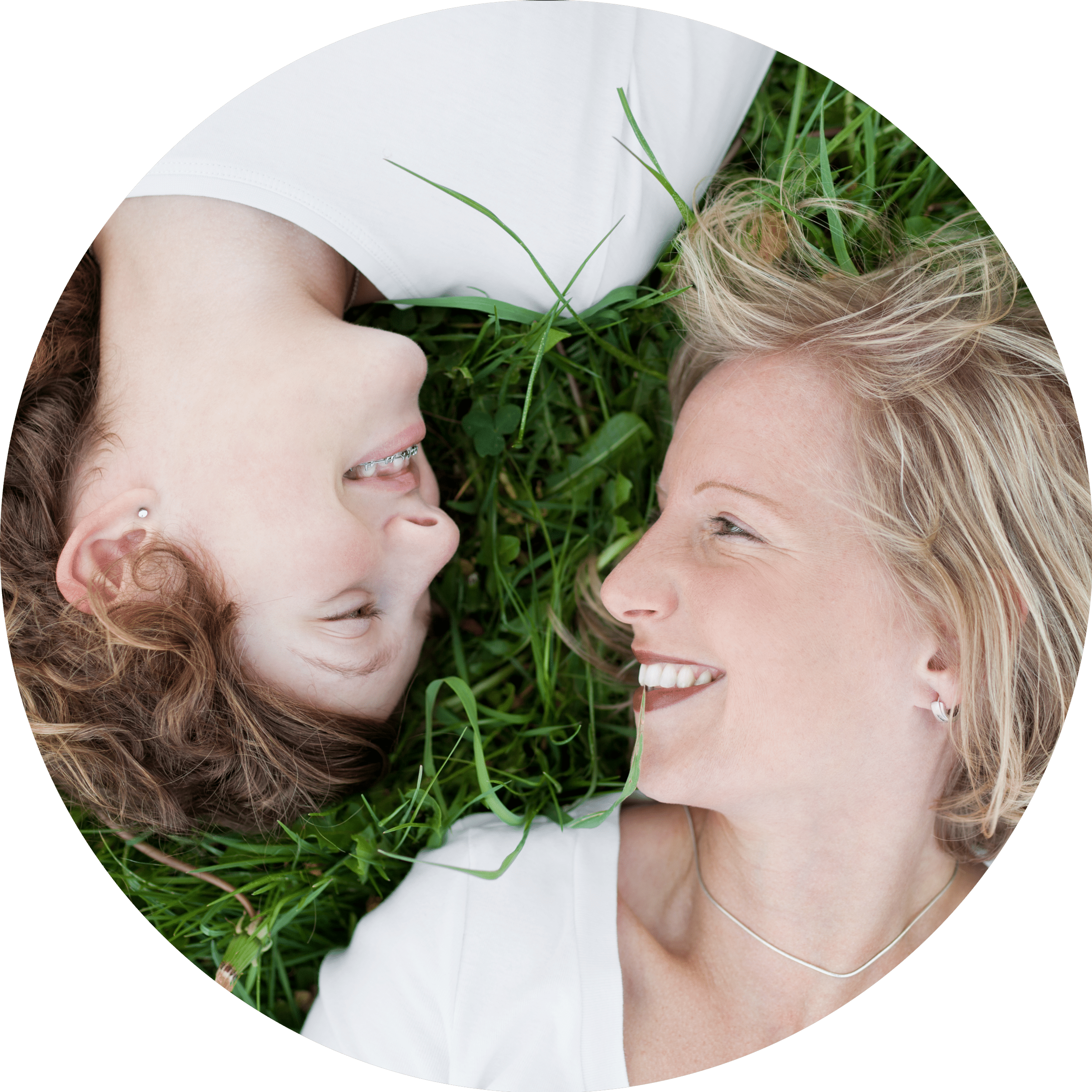 Mom & Daughter on grass
